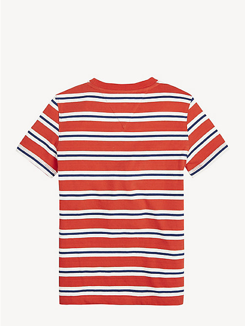 TOMMY HILFIGER Pure Cotton Stripe T-Shirt - FLAME SCARLET - TOMMY HILFIGER T-shirts & Polos - detail image 1