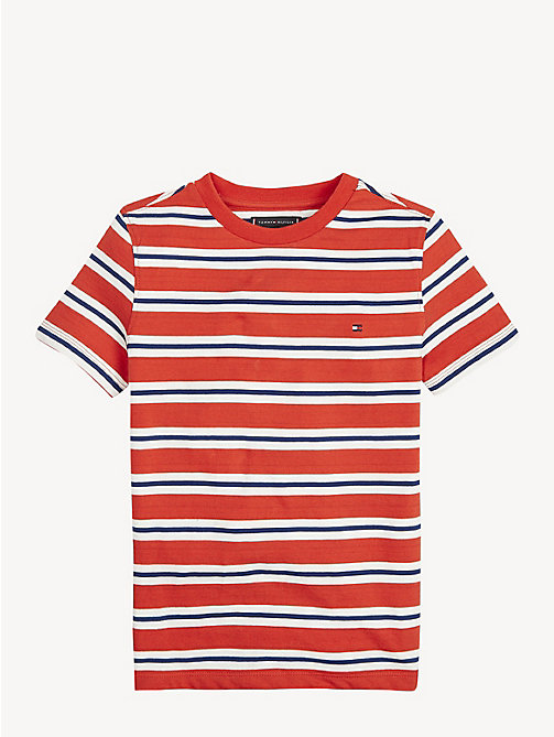 TOMMY HILFIGER Pure Cotton Stripe T-Shirt - FLAME SCARLET - TOMMY HILFIGER T-shirts & Polos - main image