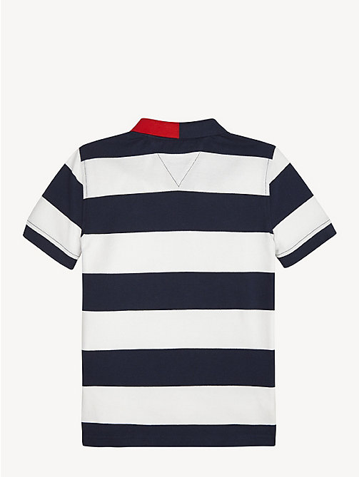 TOMMY HILFIGER All-Over Stripe Polo - BRIGHT WHITE / BLACK IRIS - TOMMY HILFIGER T-shirts & Polos - detail image 1