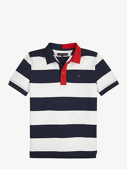 TOMMY HILFIGER All-Over Stripe Polo - BRIGHT WHITE / BLACK IRIS - TOMMY HILFIGER T-shirts & Polos - main image