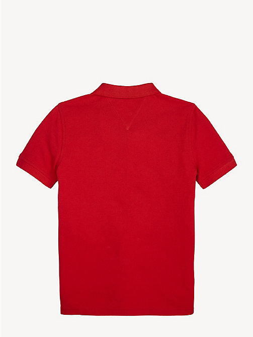TOMMY HILFIGER Flag Insert Polo - FLAME SCARLET - TOMMY HILFIGER T-shirts & Polos - detail image 1