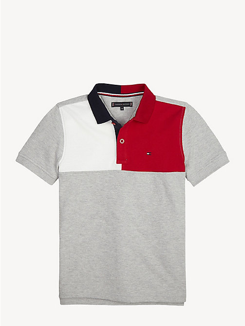 TOMMY HILFIGER Colour-Blocked Polo - GREY HEATHER - TOMMY HILFIGER T-shirts & Polos - main image
