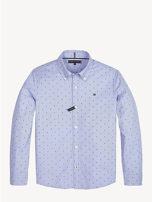 TOMMY HILFIGER Dot Print Button-Down Shirt - SHIRT BLUE - TOMMY HILFIGER Shirts - main image