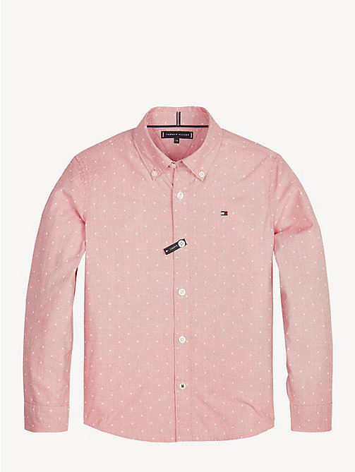 TOMMY HILFIGER Dot Print Button-Down Shirt - FLAME SCARLET - TOMMY HILFIGER Shirts - main image
