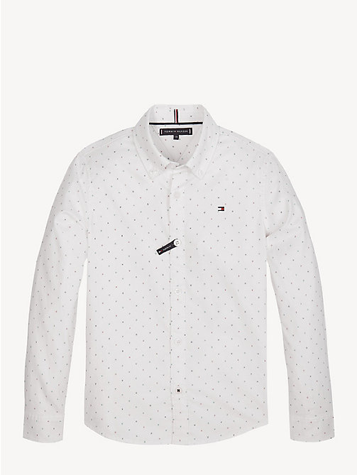 TOMMY HILFIGER Abstract Print Stretch Cotton Shirt - BRIGHT WHITE - TOMMY HILFIGER Shirts - main image
