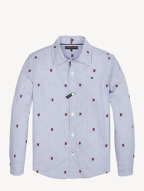 TOMMY HILFIGER Embroidered Pure Cotton Shirt - BLACK IRIS - TOMMY HILFIGER Shirts - main image