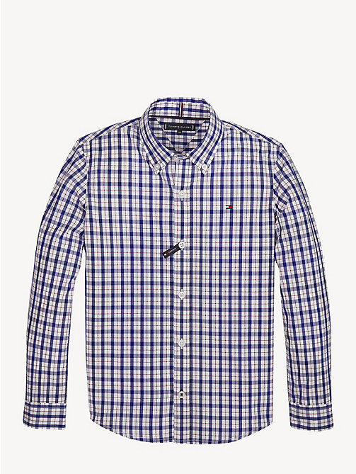 TOMMY HILFIGER Plaid Check Pure Cotton Shirt - BLACK IRIS - TOMMY HILFIGER Shirts - main image
