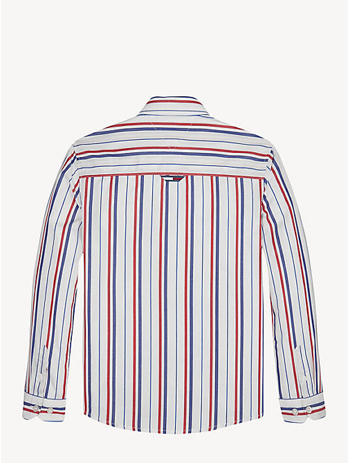 TOMMY HILFIGER Vertical Stripe Cotton Shirt - BRIGHT WHITE - TOMMY HILFIGER Shirts - detail image 1