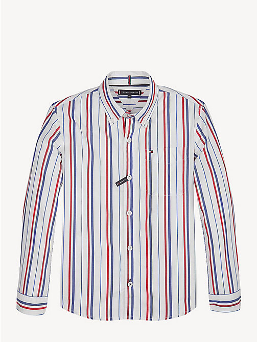 TOMMY HILFIGER Vertical Stripe Cotton Shirt - BRIGHT WHITE - TOMMY HILFIGER Shirts - main image