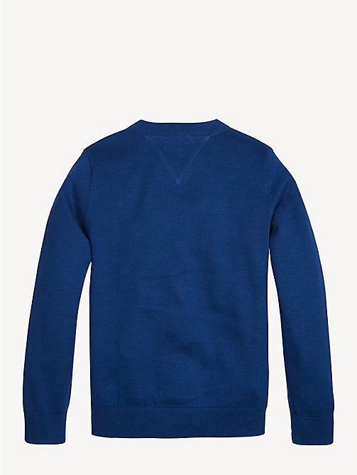 TOMMY HILFIGER Essential V-Neck Organic Cotton Jumper - LIMOGES - TOMMY HILFIGER Knitwear - detail image 1