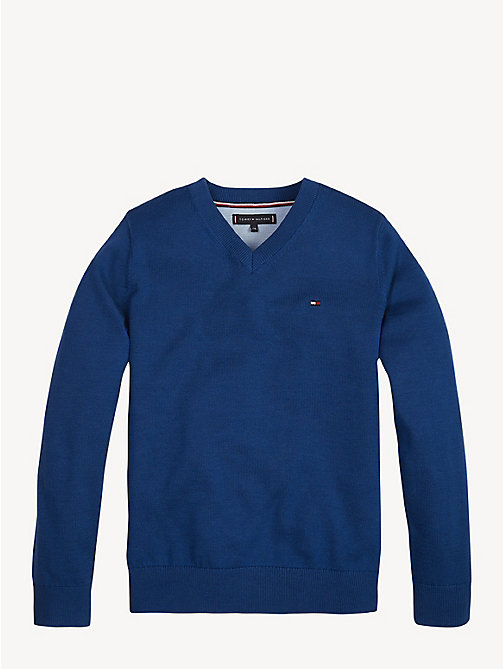 TOMMY HILFIGER Essential V-Neck Organic Cotton Jumper - LIMOGES - TOMMY HILFIGER Knitwear - main image