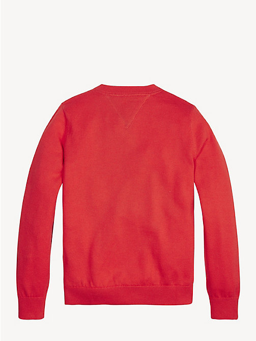 TOMMY HILFIGER Pullover in cotone biologico Essential - FLAME SCARLET - TOMMY HILFIGER Maglieria - dettaglio immagine 1