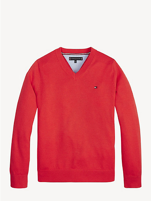 TOMMY HILFIGER Essential V-Neck Organic Cotton Jumper - FLAME SCARLET - TOMMY HILFIGER Knitwear - main image