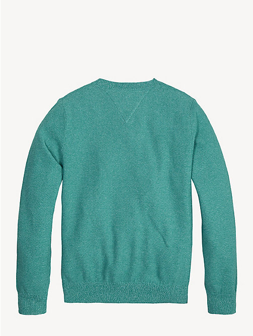 TOMMY HILFIGER Crew Neck Cotton Jumper - DYNASTY GREEN - TOMMY HILFIGER Knitwear - detail image 1