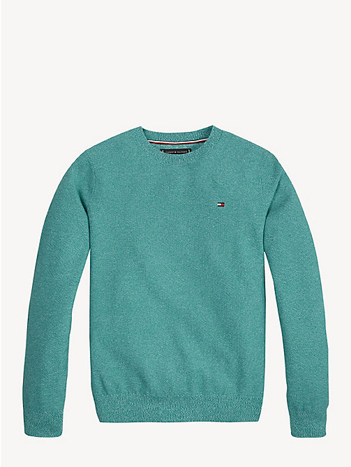 TOMMY HILFIGER Crew Neck Cotton Jumper - DYNASTY GREEN - TOMMY HILFIGER Knitwear - main image