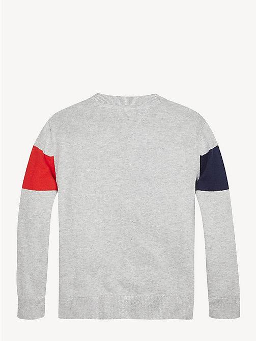 TOMMY HILFIGER Colour-Blocked Logo Organic Cotton Jumper - GREY HEATHER - TOMMY HILFIGER Knitwear - detail image 1