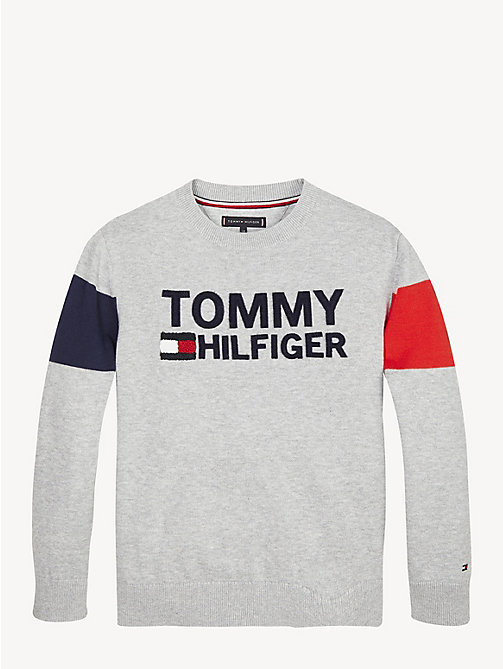 TOMMY HILFIGER Colour-Blocked Logo Organic Cotton Jumper - GREY HEATHER - TOMMY HILFIGER Knitwear - main image