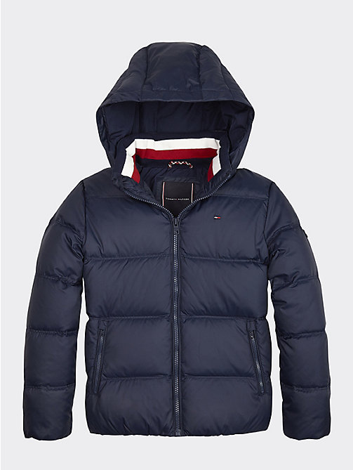 76696d81585 blue essential removable hood down jacket for boys tommy hilfiger