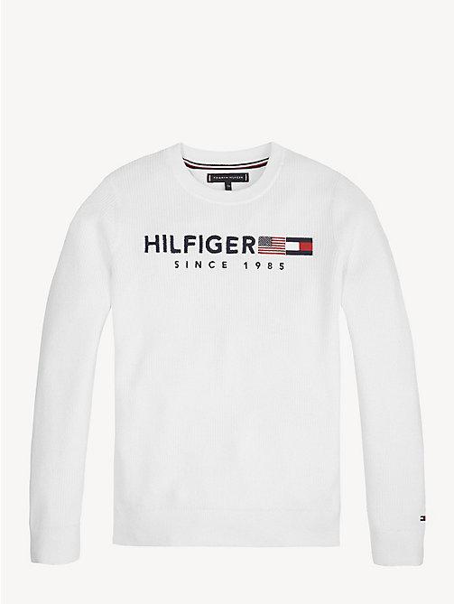 e56b4ab472b6a7 white baumwoll-pullover mit 1985-logo für jungen - tommy hilfiger