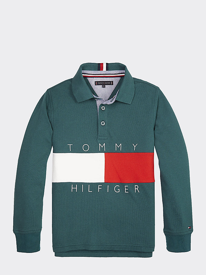 on sale 3c0e4 5bee9 Langarm-Poloshirt mit Flag-Logo | ATLANTIC DEEP | Tommy Hilfiger