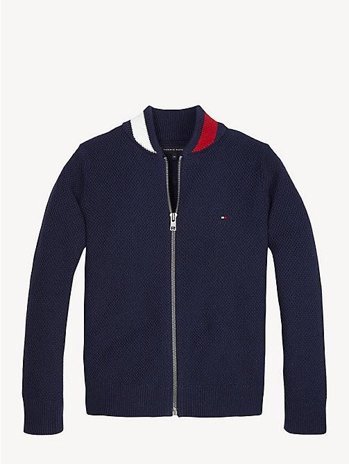 4fe15f82019a1f blue monogramm-sweatshirt mit reißverschluss für jungen - tommy hilfiger