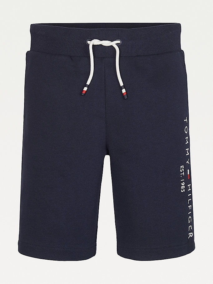 blue essential organic cotton jogger shorts for boys tommy hilfiger