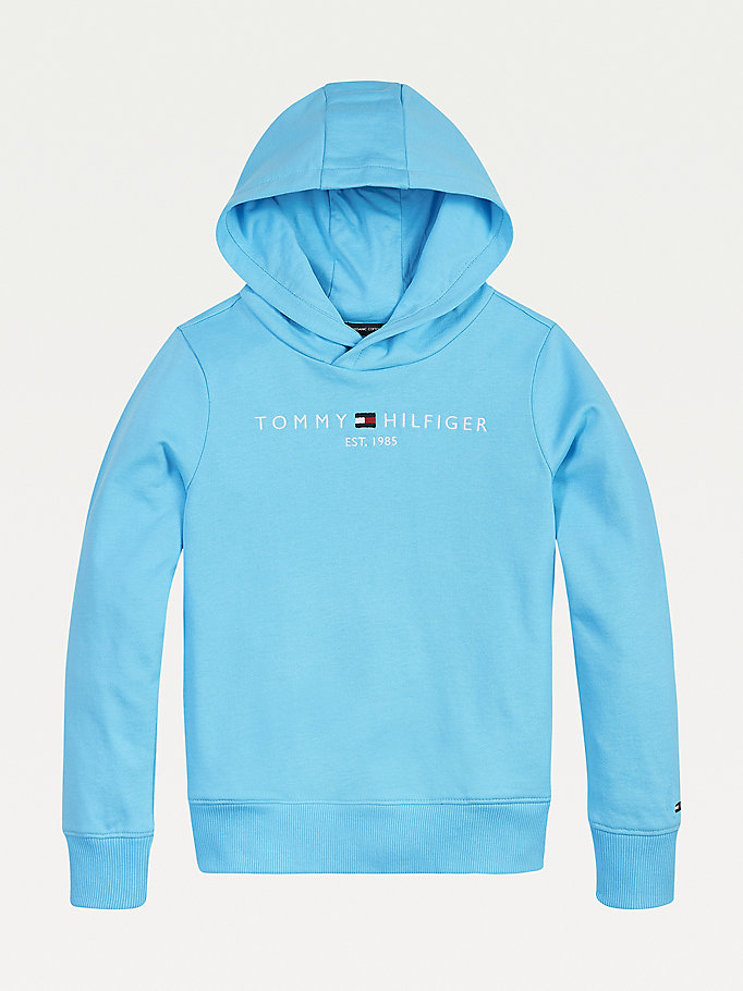 blue essential 1985 logo hoody for boys tommy hilfiger