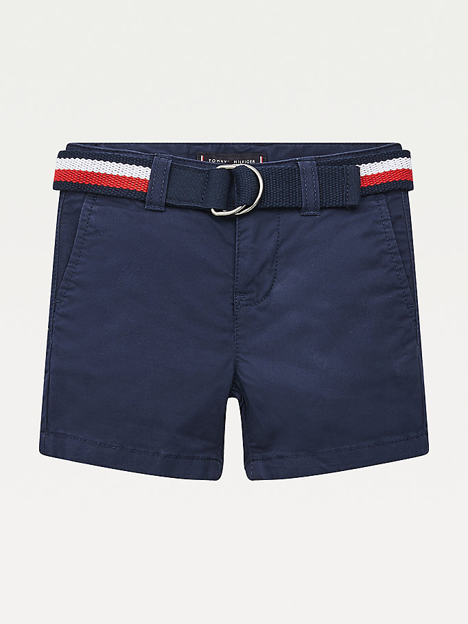 blue essential belted slim chino shorts for boys tommy hilfiger