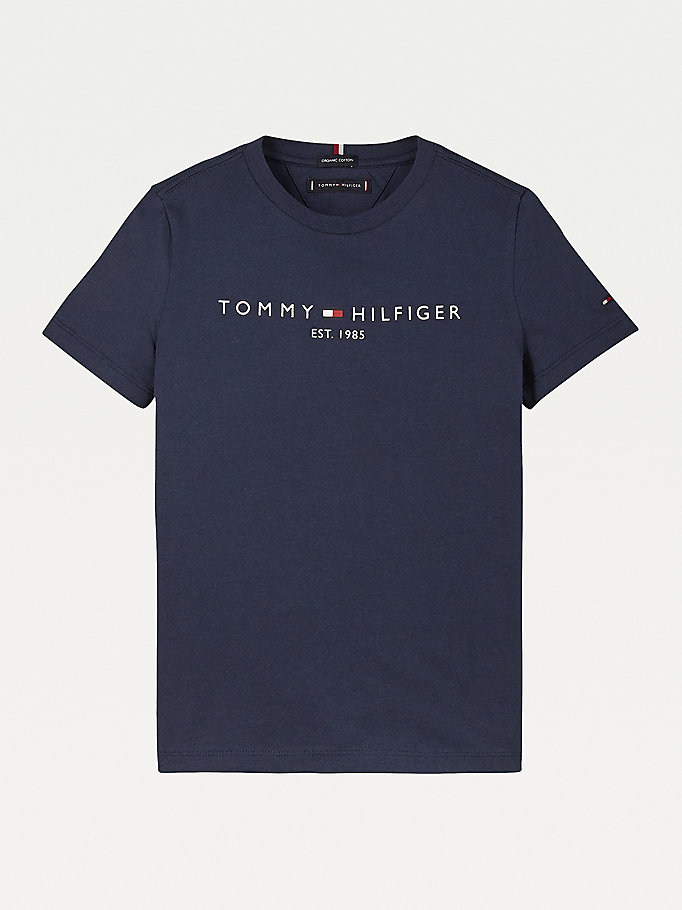 blue essential 1985 logo t-shirt for boys tommy hilfiger