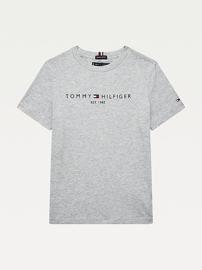 grey essential 1985 logo t-shirt for boys tommy hilfiger