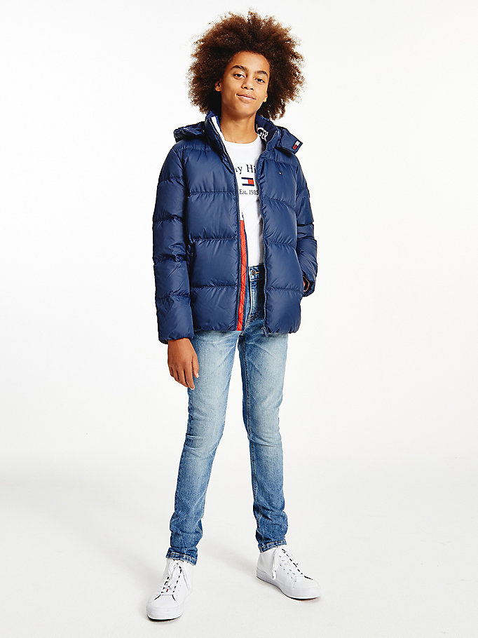 blue essential water repellent down jacket for boys tommy hilfiger
