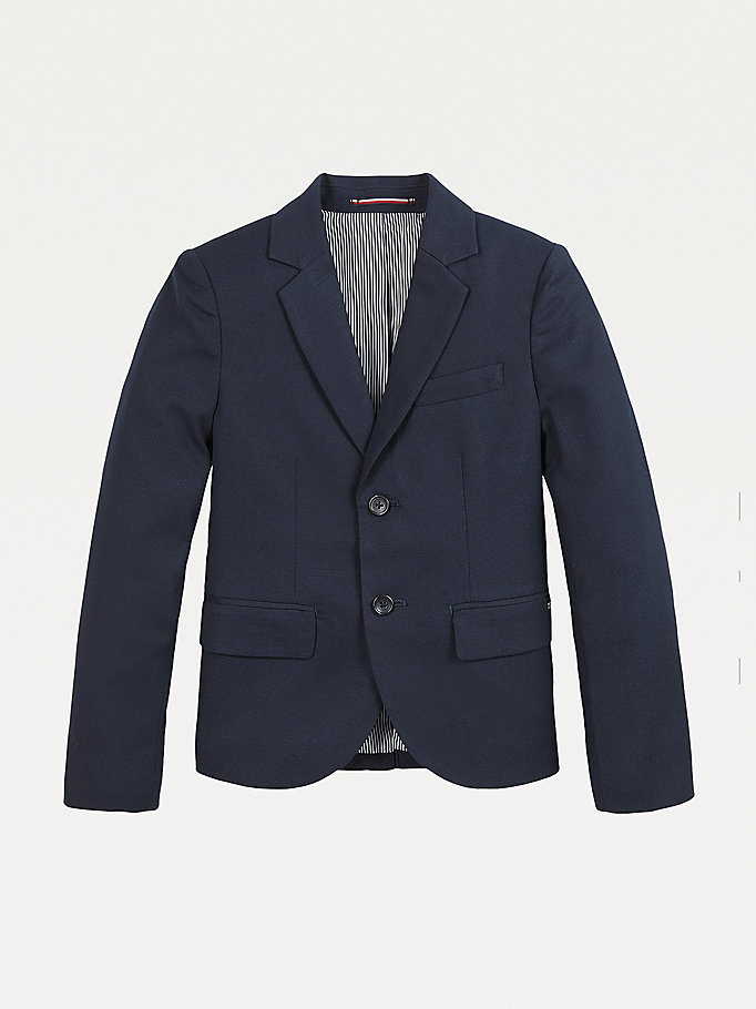 blue stretch viscose single breasted blazer for boys tommy hilfiger