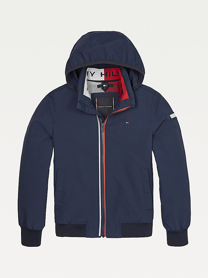 blue essential logo collar hooded jacket for boys tommy hilfiger