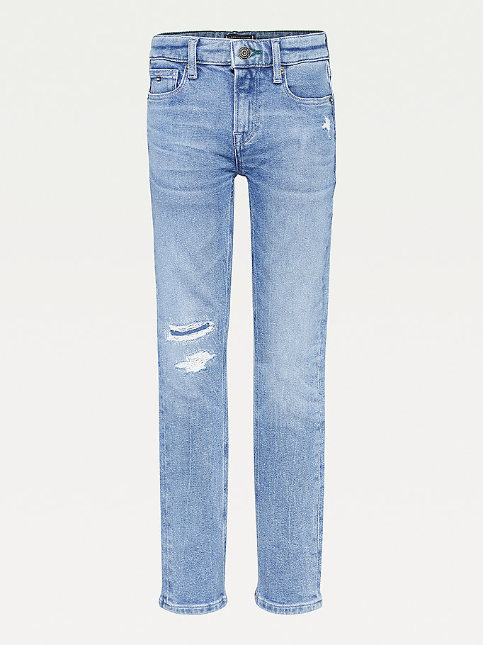 denim scanton slim jeans met distressing voor boys - tommy hilfiger