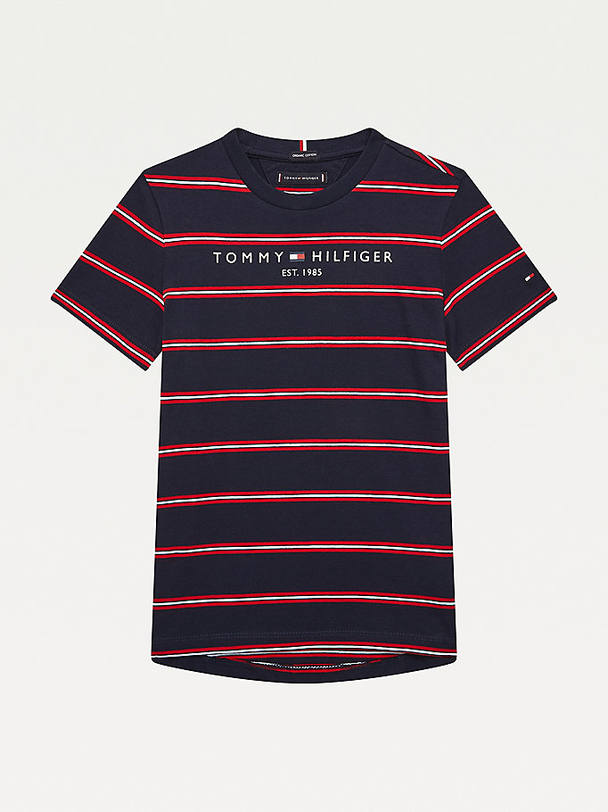 t-shirt essential à rayures multicolores rouge pour boys tommy hilfiger