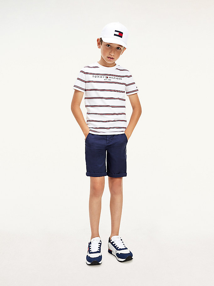 white essential multicolour stripe t-shirt for boys tommy hilfiger