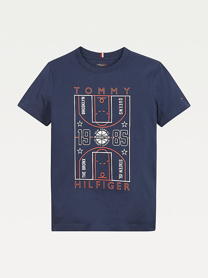 blue glow in the dark logo t-shirt for boys tommy hilfiger