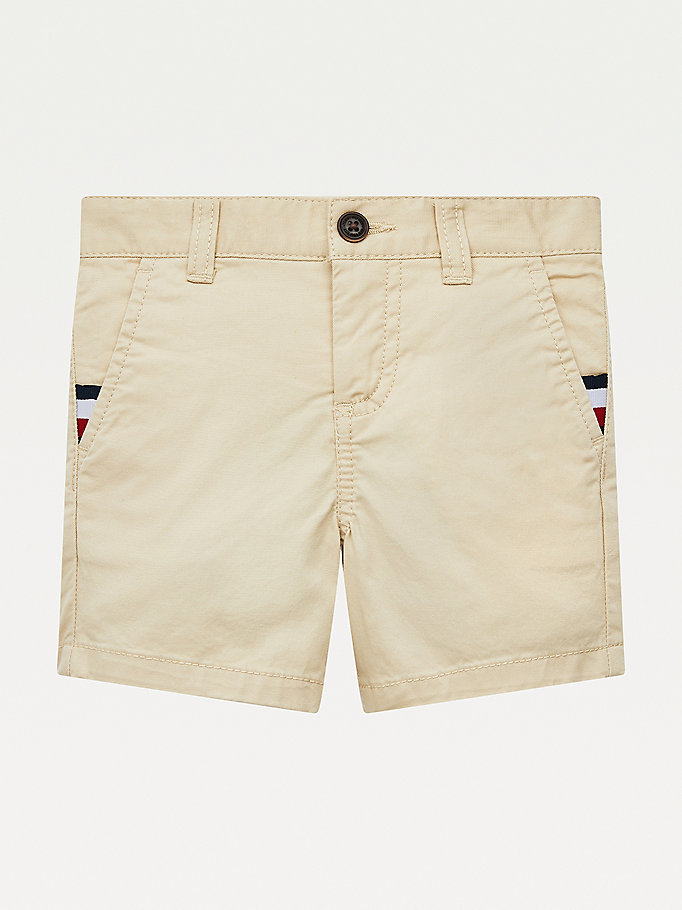 shorts chino essential th flex slim fit beige da boys tommy hilfiger