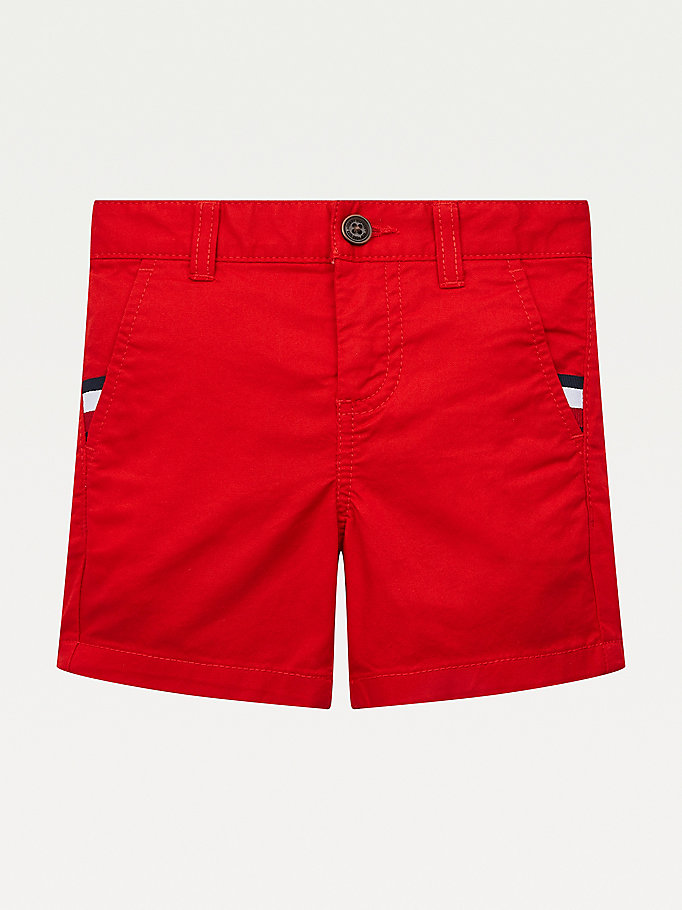 short chino slim essential th flex rouge pour garcons tommy hilfiger