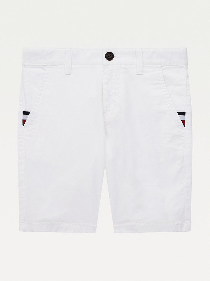 short chino slim essential th flex blanc pour boys tommy hilfiger