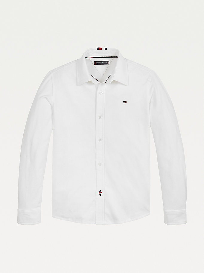 white organic cotton pique shirt for boys tommy hilfiger