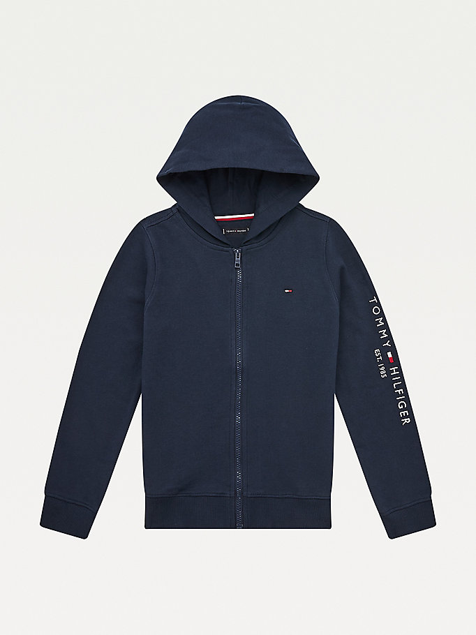 blue essential sleeve logo hoody for boys tommy hilfiger