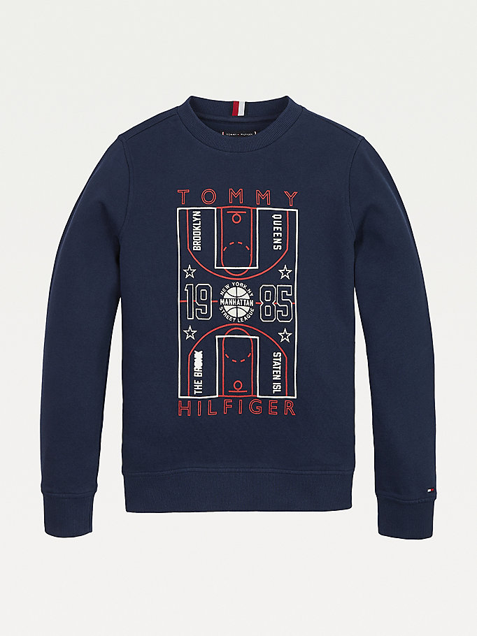 blue glow in the dark logo sweatshirt for boys tommy hilfiger