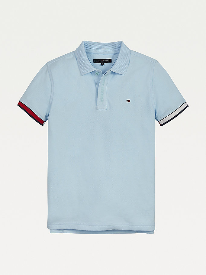 blue organic cotton signature tipped cuff polo for boys tommy hilfiger