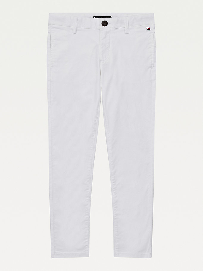 pantalón chino essential th flex blanco de boys tommy hilfiger