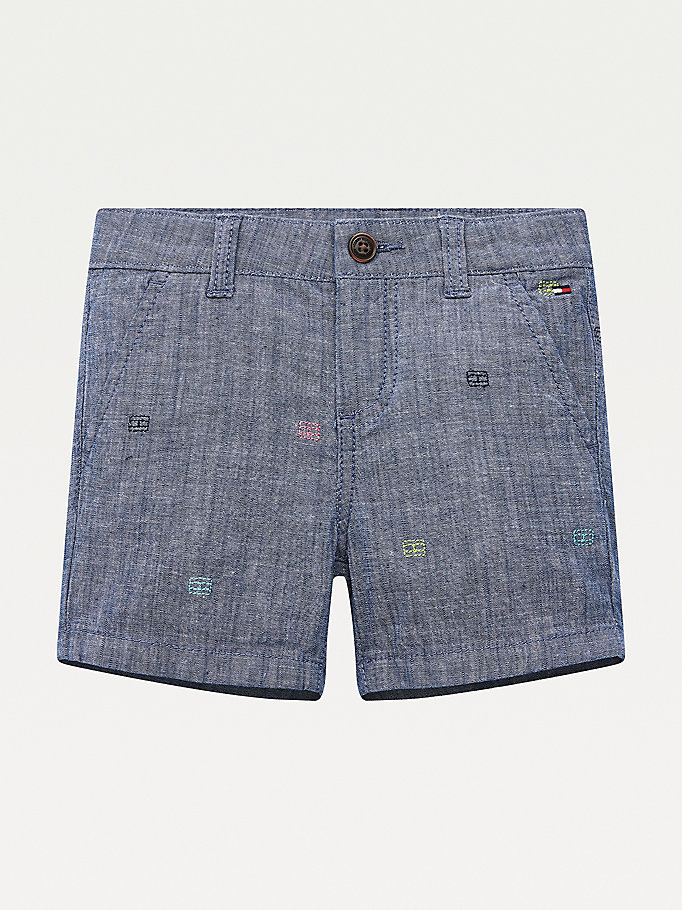 denim chambray turn-up shorts for boys tommy hilfiger