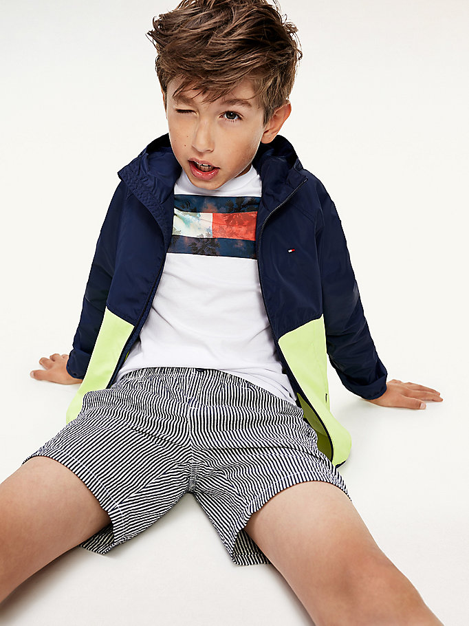 blue colour-blocked recycled nylon windbreaker for boys tommy hilfiger