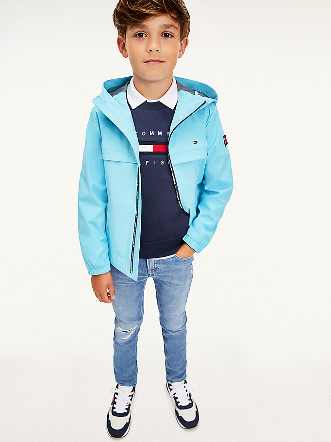 blue rubberised flag patch jacket for boys tommy hilfiger