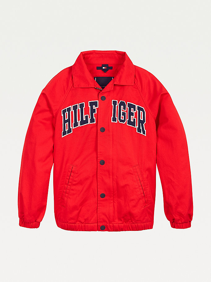 red organic cotton logo shacket for boys tommy hilfiger