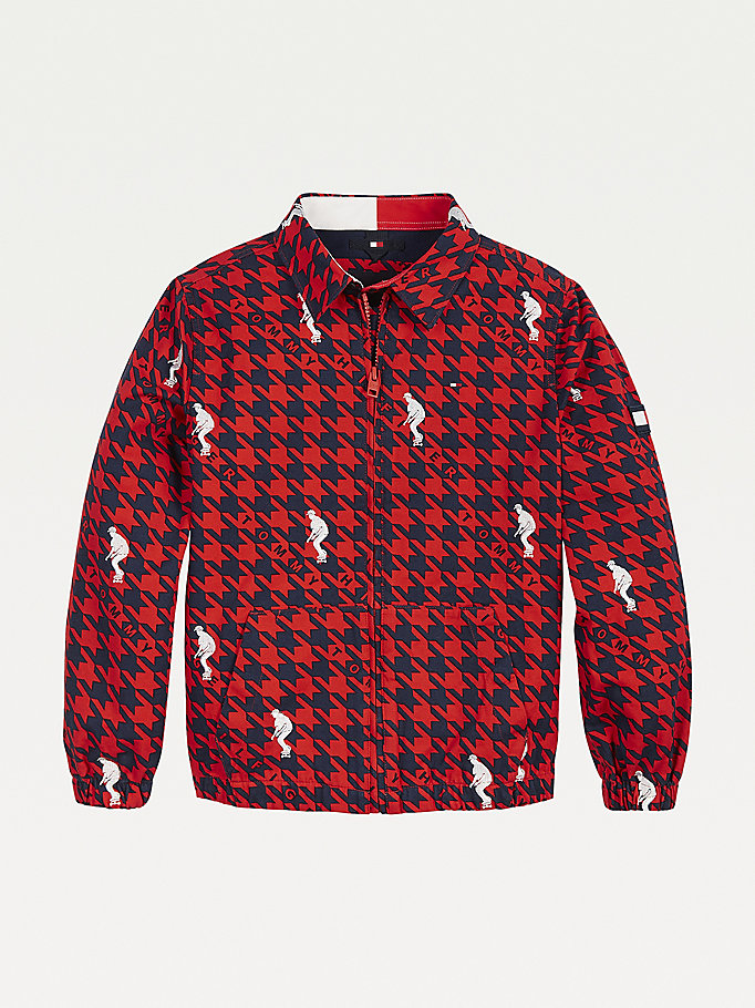 red houndstooth check organic cotton jacket for boys tommy hilfiger